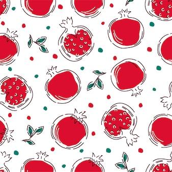 Wzór z owocami granatu w stylu liniowym.