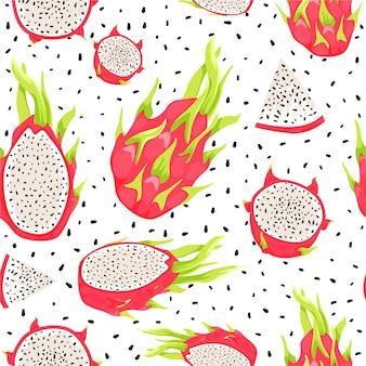 Wzór z owocami smoka. zdrowe odżywianie.