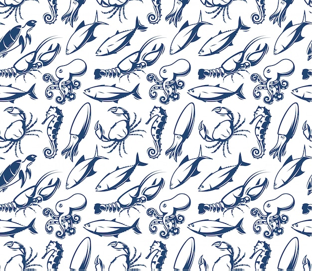 Wzór z owoców morza. zwierzęta morskie, ryby. sylwetka niebieskiej ryby