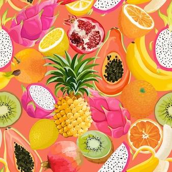 Wzór z owoców tropikalnych. banan, pomarańcza, cytryna, ananas, owoc smoka tło dla tekstyliów, tekstury mody, tapety w wektorze