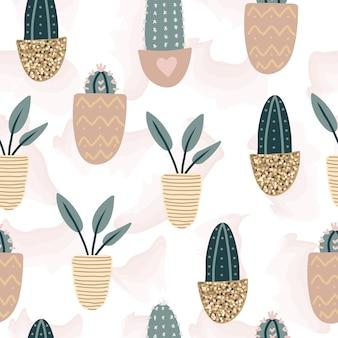 Wzór z ozdobnymi roślinami doniczkowymi.