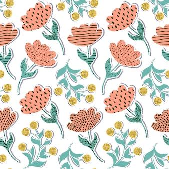 Wzór z papierowymi tulipanami