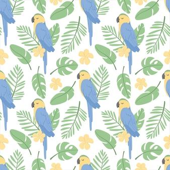 Wzór z papugą ara, tropikalnymi liśćmi i kwiatem plumeria