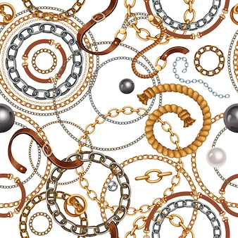 Wzór z paskami oraz łańcuszkami ze złota i srebra.