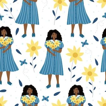 Wzór z piękną kobietą i słonecznikami