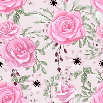 Wzór z pięknym różowym kwiatem i liśćmi