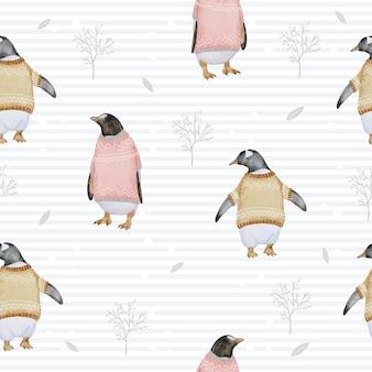 Wzór z pingwinami i gałęziami akwarela zimą