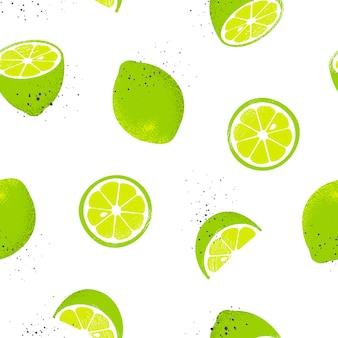 Wzór z plasterkami i całymi limonkami. ilustracja.