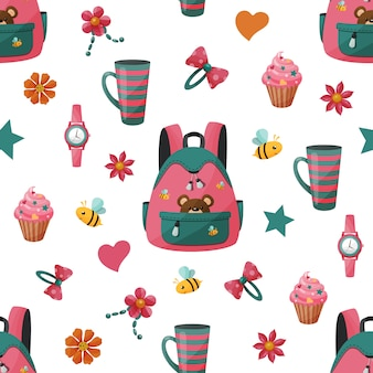 Wzór z plecakiem dziewczyny i ciastko.