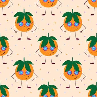 Wzór z pomarańczowymi mandarynki i zielonymi liśćmi. delikatnie pomarańczowe tło z kropkami. ilustracja wektorowa.