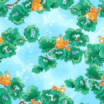 Wzór z pomarańczowymi ptakami siedzącymi na gałęziach drzew.