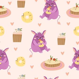 Wzór z potworem i słodyczami