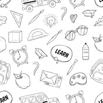 Wzór z powrotem do przyborów szkolnych z ręcznie rysowane lub szkicowy styl