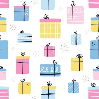 Wzór z prezentami. ręcznie rysowane ilustracji wektorowych. premaid wzór prezentu do pakowania, tapety, tła