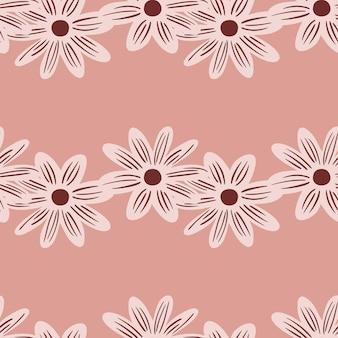 Wzór z prostych konturów kwiaty stokrotka wydruku. minimalistyczny styl. nowoczesna ozdoba. projekt graficzny do owijania tekstur papieru i tkanin. ilustracja wektorowa.