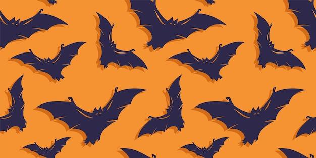 Wzór z przerażającymi okropnymi nietoperzami na halloweenowy projekt świąteczny październikowy plakat banerowy