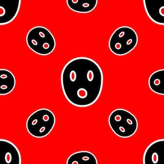 Wzór z przerażającymi twarzami