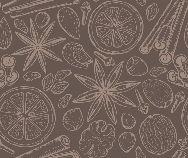 Wzór z przyprawami świątecznymi i owocami cytrusowymi