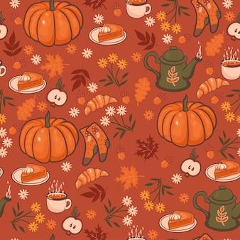 Wzór z przytulnymi elementami jesień.