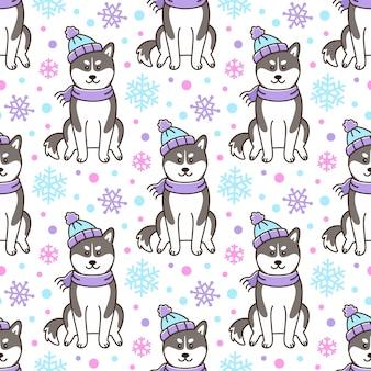 Wzór z psem siberian husky w czapce i szaliku w płatki śniegu
