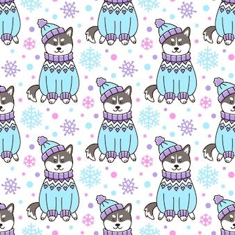 Wzór z psem siberian husky w islandzkim swetrze i czapce ze śnieżynkami