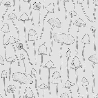 Wzór z psilocybiną lub halucynogennymi grzybami magicznymi ręcznie narysowany liniami konturowymi na szaro