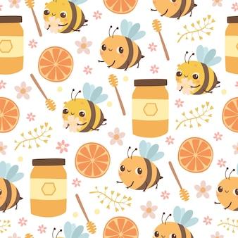 Wzór z pszczołami i miodem