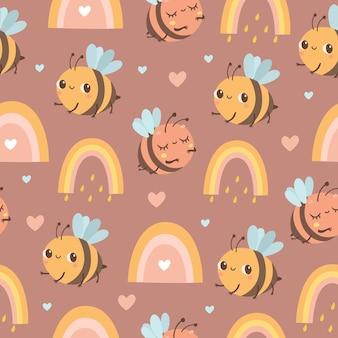 Wzór z pszczołami i tęczą