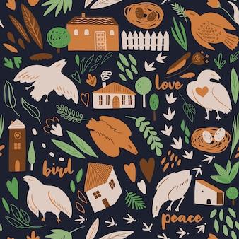 Wzór z ptakami rośliny zioła gniazdo domy ogrodzenie stylowa ilustracja wektorowa