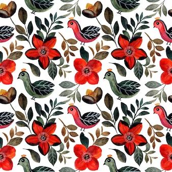 Wzór z ptakiem i kwiatową akwarelą