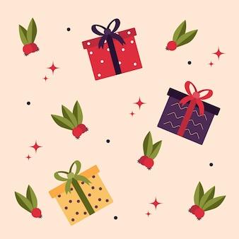 Wzór z pudełkami prezentowymi boże narodzenie tło wesołych świąt szczęśliwego nowego roku 2022