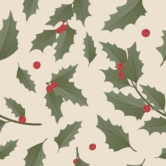 Wzór z realistyczną świąteczną jemiołą i ostrokrzewem, ilex.