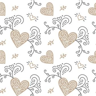 Wzór z ręcznie malowanymi liśćmi w stylu skandynawskim na białym tle