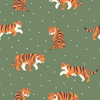 Wzór z ręcznie rysowane abstrakcyjne tygrysy do drukowania tapety w tle lub papieru do pakowania