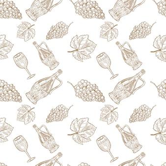 Wzór z ręcznie rysowane butelki wina, kieliszek do wina i winogrona. element plakatu, karty, banera, menu, ulotki, pakietu. ilustracja