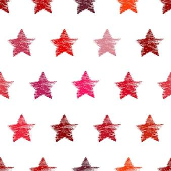 Wzór z ręcznie rysowane czerwone gwiazdki. streszczenie grunge tekstur. ilustracja wektorowa