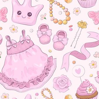 Wzór z ręcznie rysowane elementy baby shower