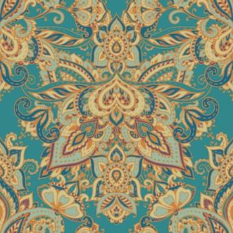 Wzór z ręcznie rysowane henna mehndi kwiatowymi elementami. piękne niekończące się tło