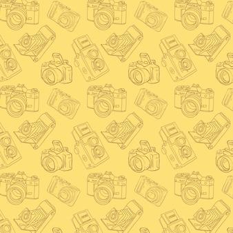 Wzór z ręcznie rysowane kamer