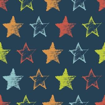 Wzór z ręcznie rysowane kolorowe gwiazdki na ciemnym tle. streszczenie grunge tekstur. ilustracja wektorowa