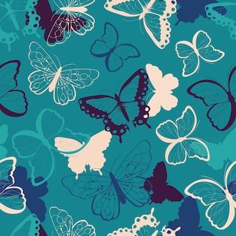 Wzór z ręcznie rysowane kolorowe motyle, sylwetka wibrujący