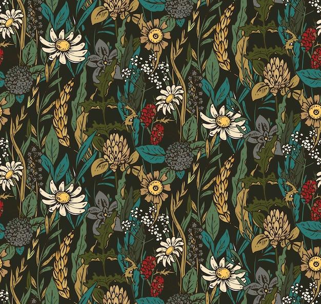 Wzór z ręcznie rysowane kwiaty i zioła. kolorowe piękne niekończące się tło.