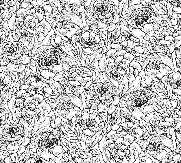 Wzór z ręcznie rysowane kwiaty piwonii. czarno-białe niekończące się tło.