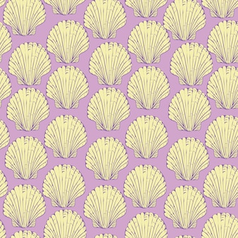 Wzór z ręcznie rysowane muszelki muszelki. piękne morskie elementy wystroju, idealne do nadruków i wzorów.