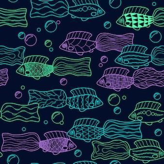 Wzór z ręcznie rysowane neonowe ryby. wektor.