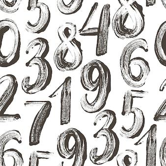 Wzór z ręcznie rysowane numery.