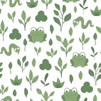 Wzór z ręcznie rysowane śmieszne dziecko węża i żaby z liśćmi.