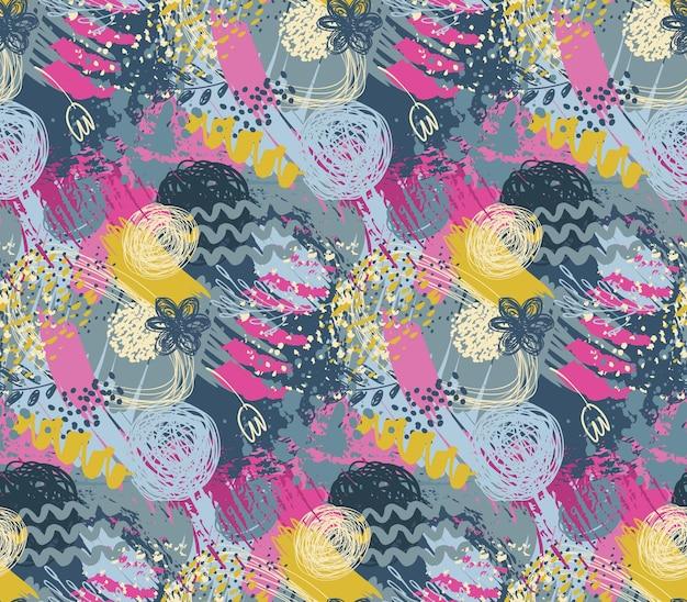 Wzór z ręcznie rysowane streszczenie tekstura atramentu i motyw kwiatowy natura. kolorowe niekończące się tło wektor.