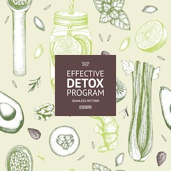 Wzór z ręcznie rysowane tuszem dieta elementy szkicu. vintage zdrowej żywności i detox program tło.