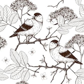 Wzór z ręcznie rysowane tuszem ptaki na kwitnące gałązki drzew. vintage szkic tło na białym tle